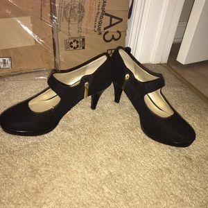 Mary Jane suede zipper heels.